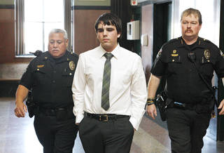 Connor Mason walks from the jail elevator to the courtroom for his sentencing at the Oklahoma County Courthouse in Oklahoma City Thursday, Dec. 20, 2012. Photo by Paul B. Southerland, The Oklahoman