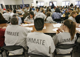 Some inmates and their family members participated in activities for Character Community Family Day inside the Mabel Bassett Correctional Center on Wednesday, Feb., 20, 2008. , BY JIM BECKEL, THE OKLAHOMAN ORG XMIT: KOD