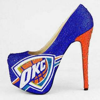 These limited edition, custom-made crystal pumps from Herstar have a 6.5-inch heel, feature the OKC Thunder logo and are covered with Middle Eastern crystals. Released in June, they retail for about $275. PHOTO PROVIDED.