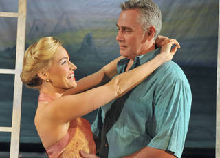 "Tiffan Borelli and Christopher Carl star as Nellie Forbush and Emile de Becque in ""South Pacific."" Photo by Wendy Mutz. WENDYMUTZ"