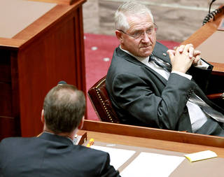 Senator Harry E. Coates - District 28, listens to proceedings at the state Capitol in Oklahoma City on Tuesday, Jan. 4, 2011. Photo by John Clanton, The Oklahoman