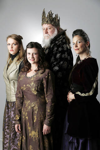The Oklahoma Shakespeare in the Park production of King Lear features, from left: Erin Hicks-Cheek as Regan; Julia Devine as Cordelia; Hal Kohlman as King Lear; and Mandee Chapman-Roach as Goneri. Photo by Doug Hoke, The Oklahoman DOUG HOKE - THE OKLAHOMAN