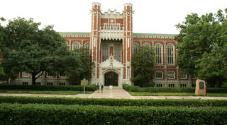 Cherokee Gothic facades decorate the south entrance of the Bizzell Memorial Library on the University of Oklahoma campus in this 2005 photo. Photo By Steve Gooch/The Oklahoman STEVE GOOCH
