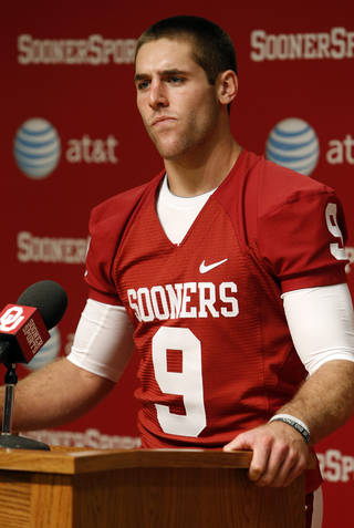 Quarterback Trevor Knight speaks during media access day for the University of Oklahoma Sooner (OU) football team in the Adrian Peterson meeting room in Gaylord Family-Oklahoma Memorial Stadium in Norman, Okla., on Saturday, Aug. 3, 2013. Photo by Steve Sisney, The Oklahoman