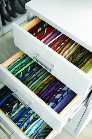 Kevin Starkey's tie drawer reflects the mantra that you must see to use. Ties stacked flat in this drawer rather than on their sides would be less accessible. Photo provided by Johnny Miller for The Best of Martha Stewart Living Organizing