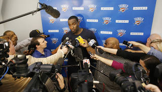Oklahoma City Kendrick Perkins talks to the media at the Thunder's practice facility in Oklahoma City, Friday May 23, 2014.Thunder GM Sam Presti released a statement saying the swelling in Serge Ibaka's calf has reduced and they will be upgrading his status to day-to-day. Photo By Steve Gooch, The Oklahoman