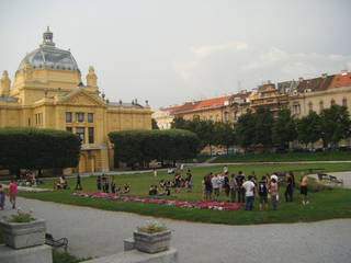 Young people gather in King Tomislav Square in Zagreb, Croatia, in view of the Art Pavilion, which hosts exhibitions of contemporary art. Photo courtesy of Joe Tash.