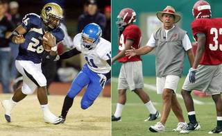 Alabama head coach Nick Saban said Friday he doesn't believe he was in violation of the NCAA rules in his visit to Heritage Hall and star running back Barry J. Sanders on Wednesday. (Archive photos)