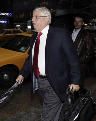 NBA Commissioner David Stern arrives for the NBA labor negotiations, in New York, Wednesday, Oct. 19, 2011. NBA owners and players are meeting for a second straight day, shortly after finishing a 16-hour marathon with a federal mediator.(AP Photo/Richard Drew) ORG XMIT: NYRD104