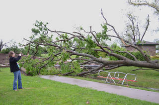 Damage at Andrews Park, 201 W. Daws in Norman on April 13, 2012. Photo by Carmen Forman.