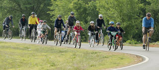 The first Edmond Family Bike Ride to encourage families and children to ride their bicycles for fitness and fun was at J.L. Mitch Park. Photo by Doug Hoke, The Oklahoman DOUG HOKE -