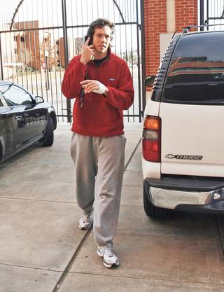 Oklahoma quarterback Sam Bradford arrives at the Switzer Center to see results of the BCS rankings on Sunday. Photo By Steve Sisney, The Oklahoman
