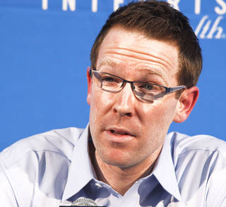 Despite possible interest from the Portland Trail Blazers, it seems unlikely that Sam Presti would leave Oklahoma City. PHOTO BY PAUL HELLSTERN, THE OKLAHOMAN
