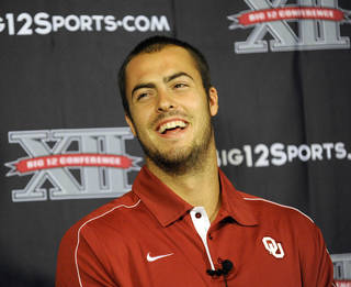 Oklahoma quarterback Landry Jones laughs at a question at NCAA college football Big 12 Media Days, Monday, July 23, 2012, in Dallas. (AP Photo/Matt Strasen) ORG XMIT: TXMS122