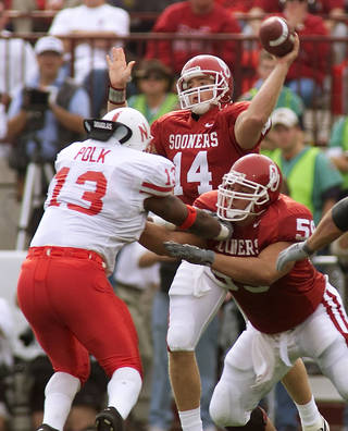 Josh Heupel unloads a pass as Bubba Burcham blocks Nebraska's Carlos Polk. Photo by Doug Hoke, The Oklahoman Archives DOUG HOKE