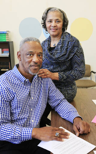 Teachers Richard and Barbara Garrett, from Oklahoma City, in a classroom at Classen School of Advanced Studies in Oklahoma City. Jan. 17, 2014. Photo by Paul B. Southerland, The Oklahoman PAUL B. SOUTHERLAND - PAUL B. SOUTHERLAND