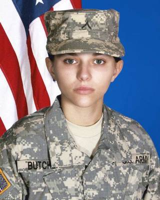 MILITARY / FIRST WOMAN / OKLAHOMA NATIONAL GUARD / OKLAHOMAN / SOLDIER / DEATH / AFGHANISTAN: In this undated photo provided by the Oklahoma National Guard, 19-year-old Pfc. Sarina Butcher of Checotah, Okla. is shown. The U.S. Department of Defense announced Wednesday, Nov. 2, 2011 that Butcher and 26-year-old Spc. Christopher Gailey of Ochelata died Tuesday when their vehicle was attacked with an improvised explosive device in Paktia province. Butcher is the first female Oklahoma National Guard Soldier to be killed during wartime and is also the youngest Oklahoma Citizen-Soldier to die in combat in Iraq and Afghanistan. (AP Photo/Oklahoma National Guard) ORG XMIT: OKSO201