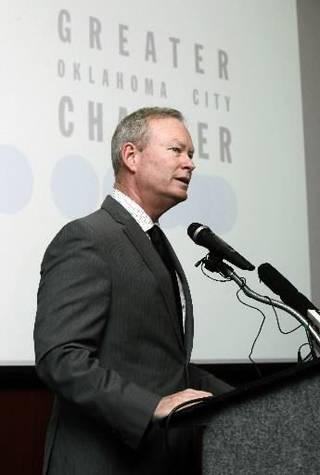 OKC Mayor Mick Cornett discusses a new series of jobs being offered by AT&T, during a press conference at the Oklahoma City Chamber of Commerce in Oklahoma City, OK, Thursday, June 27, 2013, Photo by Paul Hellstern,