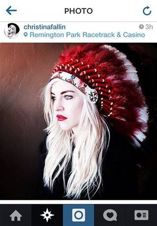 "This photo posted to Christina Fallin's Instragram account shows Fallin, the daughter of Oklahoma Gov. Mary Fallin, wearing a Native American headdress. Christina Fallin is defending herself after she posted the photo on social media sites. In a statement to The Associated Press, she says that with age, she feels a ""deeper and deeper connection to the Native American culture."" (AP Photo)"