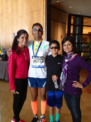 Raj Patel, second from left, with his family in Boston. Photo provided