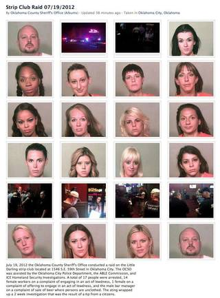 Screen grab from a Facebook page on the Oklahoma County sheriff's office Facebook page of a strip club raid. For details: https://www.facebook.com/media/set/?set=a.10151047319851683.447711.206934041682&type=1 PROVIDED