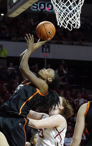 Oklahoma State's Toni Young (15) shoots in front of Oklahoma's Joanna McFarland (53) during the women's Bedlam basketball game between Oklahoma State University and Oklahoma at the Lloyd Noble Center in Norman, Okla., Sunday, Feb. 10, 2013.Photo by Sarah Phipps, The Oklahoman
