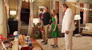 "From left, Neil Patrick Harris, Jayma Mays, Jacob Tremblay and Brendan Gleeson play some of the humans in ""The Smurfs 2."" Columbia Pictures photo"