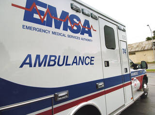 An ambulance is seen at the Emergency Medical Services Authority's operations facility, SW 23 and Walker in Oklahoma City. Photo by Paul B. Southerland, The Oklahoman PAUL B. SOUTHERLAND