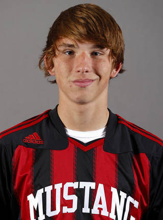 Mustang boys soccer player Colton Haskin poses for a mug during the spring high school sports photo day in Oklahoma City, Wed. Feb. 27, 2013. Photo by Bryan Terry, The Oklahoman