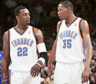 Thunder forwards Jeff Green, left, and Kevin Durant are two of several current NBA stars who grew up in the Washington, D.C. area. PHOTO BY JOHN CLANTON, THE OKLAHOMAN