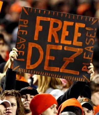A fan holds up a sign supporting Dez Bryant during the college football game between Oklahoma State University (OSU) and the University of Missouri (MU) at Boone Pickens Stadium in Stillwater, Okla. Saturday, Oct. 17, 2009. Photo by Steve Sisney, The Oklahoman