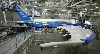 A Boeing 787, painted in the company's colors, is in the paint hangar in 2009 at the company's facility in Everett, Wash. AP File Photo Elaine Thompson -