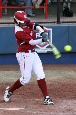 OU freshman Lauren Chamberlain set a conference record with 25 home runs this season. PHOTO BY HUGH SCOTT, For The Oklahoman HUGH SCOTT
