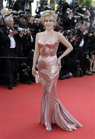 Actress Jane Fonda arrives for the opening ceremony and screening of Moonrise Kingdom at the 65th international film festival, in Cannes, southern France, Wednesday, May 16, 2012. (AP Photo/Lionel Cironneau)