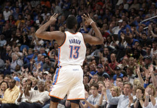 Oklahoma City's James Harden (13) celebrates a three-point basket during the NBA basketball game between the Oklahoma City Thunder and the Portland Trail Blazers at Chesapeake Energy Arena in Oklahoma City, Sunday, March 18, 2012. Photo by Sarah Phipps, The Oklahoman.