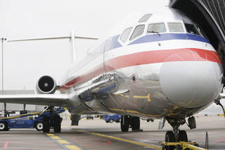FILE - AIRPLANE / PLANE: In this Oct. 28, 2009 file photo, an American Airlines jet is seen at Lambert St. Louis International Airport in St. Louis. American Airlines said Friday, Jan. 22, 2010, it will lay off up to 175 pilots beginning next month because it needs fewer pilots after cutting some flights.(AP Photo/Jeff Roberson, file) ORG XMIT: NYBZ165