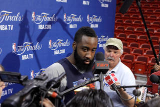 Oklahoma City's James Harden listens to a question before a practice for Game 5 of the NBA Finals between the Oklahoma City Thunder and the Miami Heat at American Airlines Arena, Wednesday, June 20, 2012. Photo by Bryan Terry, The Oklahoman