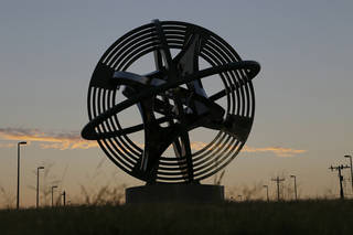 """Compass Rose,"" a sculpture by artist Owen Morrel, donated to the Boathouse District by Leadership Oklahoma City. Photo by Doug Hoke, The Oklahoman DOUG HOKE -"