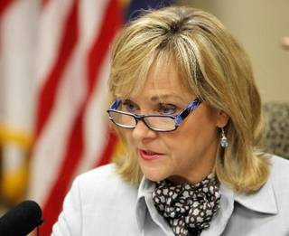 Oklahoma Gov. Mary Fallin speaks with the media during a news conference after the end of the legislative session at the state Capitol in Oklahoma City, Friday, May 20, 2011. (AP Photo/The Oklahoman, Nate Billings)