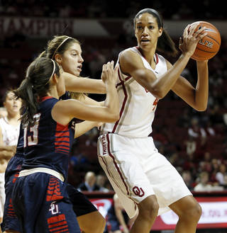 Oklahoma's Nicole Griffin (4) looks to pass away from Samford's Christy Robinson (34) and Brittany Stevens (13) during a women's college basketball game between the University of Oklahoma Sooners (OU) and the Samford Bulldogs at Lloyd Noble Center in Norman, Okla., Sunday, Dec. 29, 2013. Photo by Nate Billings, The Oklahoman