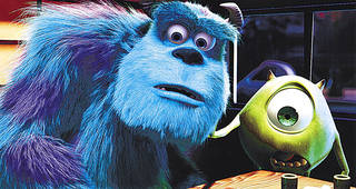 """Monsters, Inc.,"" features the voices of John Goodman as Sulley, left, and Billy Crystal as Mike. DISNEY/PIXAR PHOTO PROVIDED"