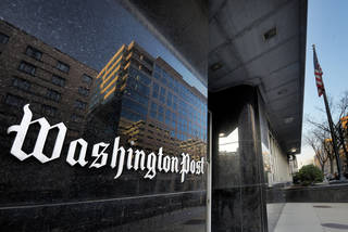 WASHINGTON, DC - FEBRUARY 20: Exterior view of the Washington Post building on L street on February, 20, 2013 in Washington, DC. (Photo by Bill O'Leary/The Washington Post via Getty Images)