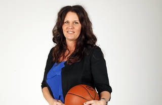 Totsy Manning, Deer Creek High School girls basketball coach and coach of the Big All-City girls team, poses for a photo at the OPUBCO studio in Oklahoma City, Wednesday, April 10, 2013. Photo by Nate Billings, The Oklahoman