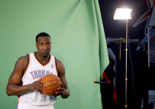 Oklahoma City's Kendrick Perkins films video segments at the the Thunder practice facility, Saturday, Feb, 26, 2011, in Oklahoma City.Photo by Sarah Phipps, The Oklahoman