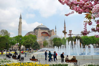 Built by the Byzantine Emperor Justinian in the early sixth century on the grandest scale possible, the Hagia Sophia was later converted into a mosque by the conquering Ottomans. Photo by Rick Steves