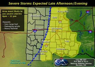 Forecasters said a cold front from Texas will move across Oklahoma Sunday, creating severe storms across western and central Oklahoma. Some of the storms could produce large hail and damaging winds. - Provided