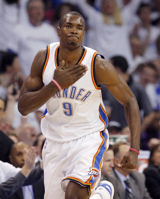 Oklahoma City's Serge Ibaka could enter the Thunder's starting lineup next season. PHOTO BY NATE BILLINGS, THE OKLAHOMAN