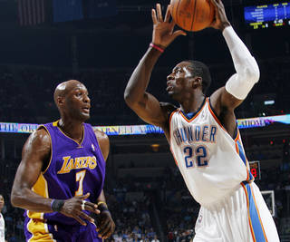 Thunder forward Jeff Green, right, may have his contract negotiations put on hold until after a new collective bargaining agreement is reached. PHOTO BY NATE BILLINGS, THE OKLAHOMAN