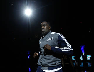 Oklahoma City 's Kendrick Perkins (5) is introduced before the NBA game between the Oklahoma City Thunder and the Houston Rockets at the Chesapeake Energy Arena in Oklahoma City, Sunday, Dec. 29, 2013. PHOTO BY SARAH PHIPPS, The Oklahoman