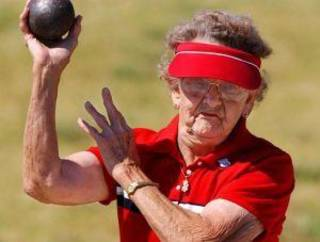 Irene Trask of Bartlesville, pictured here readying for the shot put at the 2004 Oklahoma Senior Olympics in Tulsa, died Wednesday, April 9, 2014. She was 106. Tulsa World file